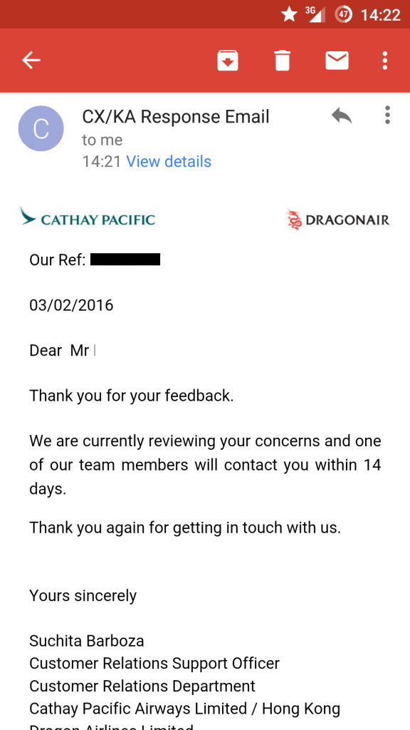 Whine Wednesday Cathay Pacific Ground Services (NONE) At HKG Complaint Reply
