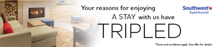 Club Carlson Country Inn & Suites Southwest Airlines Triple Rapid Rewards Miles March 1 - April 30 2016