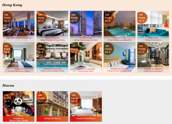 IHG Rewards Club 10,000 Bonus Points Hong Kong & Macau Hotels