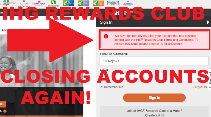 IHG Rewards Club Closing Accounts Again