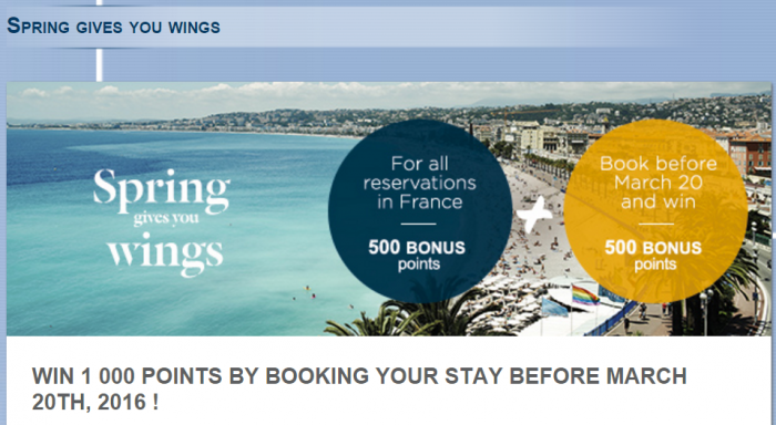 Le Club AccorHotels 1000 Bonus Points France March 7 - May 31 2016