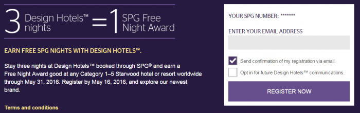 Starwood Preferred Guest SPG Design Hotels Free Nights Promo March - May 2016 Box