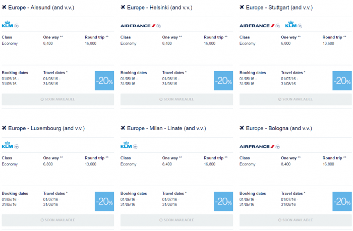 Air France-KLM Flying Blue Promo Awards May 2016 Europe 1