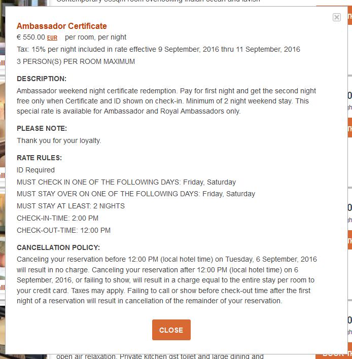 IHG Rewards Club InterContinental Ambassador Free Weekend Night Booking Link Rate Preference Rules