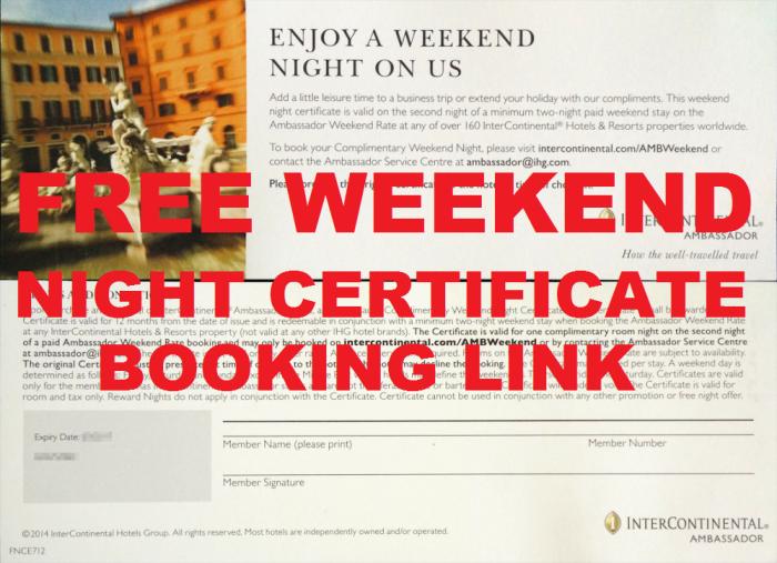 IHG Rewards Club InterContinental Ambassador Free Weekend Night Certificate