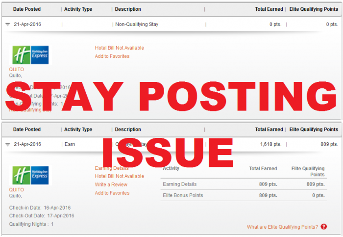 IHG Rewards Club Stay Posting Issue