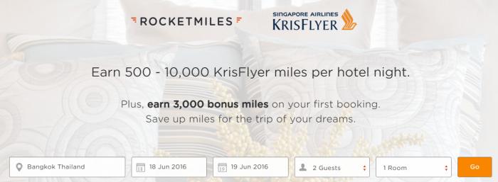 Rcoketmiles Singapore Airlines 3,000 Bonus Miles April 1 - May 31 2016