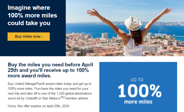 United Airlines Buy MileagePlus Miles April 2016 Campaign