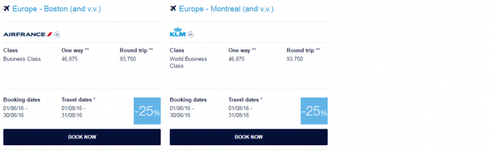 Air France-KLM Flying Blue June 2016 Promo Awards US & Canada 1