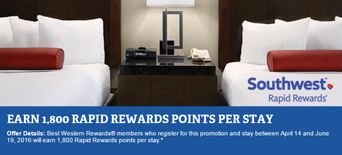 Best Western Rewards Southwest Airlines Triple Rapid Rewards Points April 14 - June 19 2016