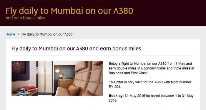 Etihad Airways Etihad Guest Double & Triple Bonus Miles AUH-BOM May 1 - 31 2016