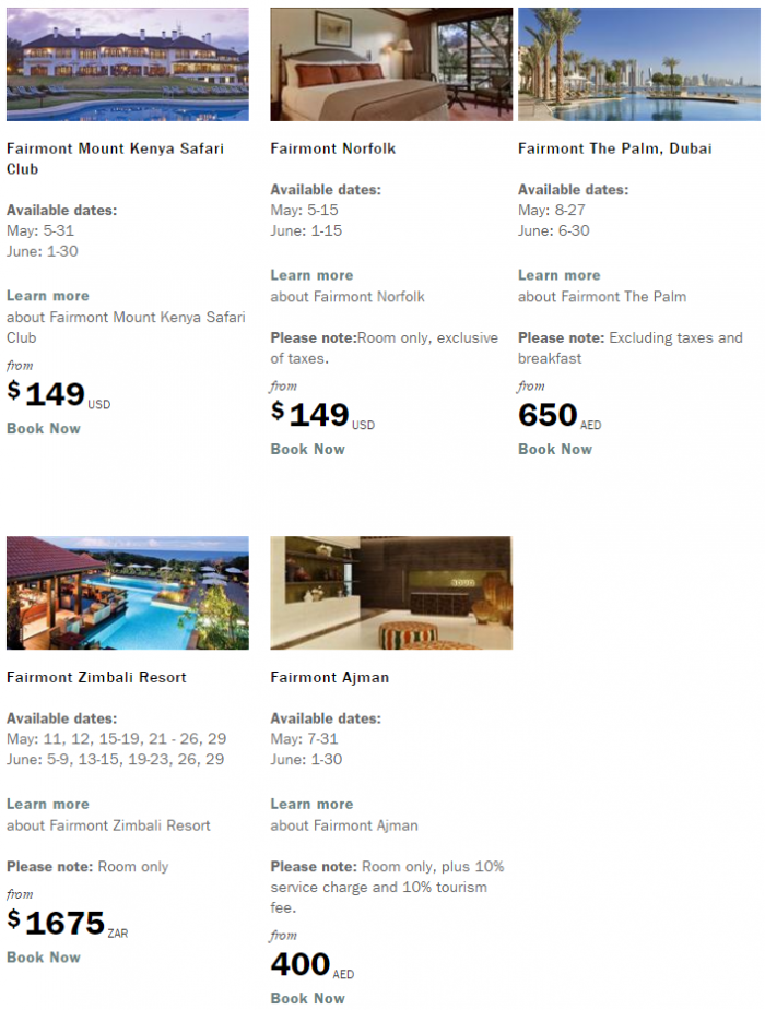Fairmont President Club Great Rates Great Dates May - June 2016 Book By May 12 6