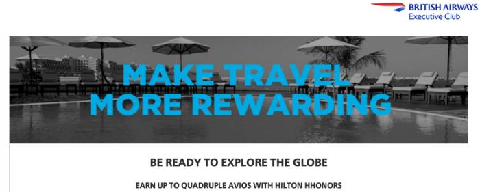Hilton HHonors British Airways Up To Quadruple Avios May 1 - August 31 2016