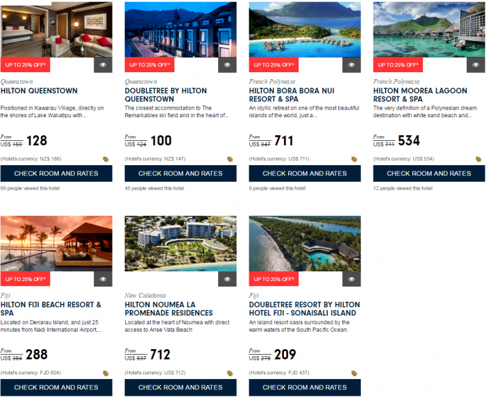 Hilton HHonors Up To 25 Percent Off Asia-Pacific Sale For Stays December 31 2016 Australia New Zealand South Pacific 3