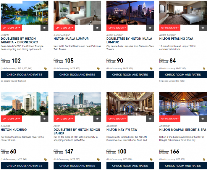 Hilton HHonors Up To 25 Percent Off Asia-Pacific Sale For Stays December 31 2016 Southwest Asia 3