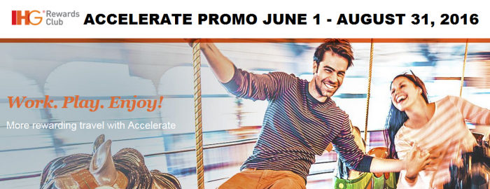 IHG Rewards Club Accelerate Promotion For Stays June 1 - August 31 2016