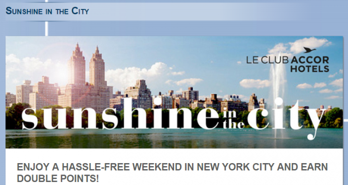 Le Club AccorHotels New York Double Points May 13 - August 31 2016