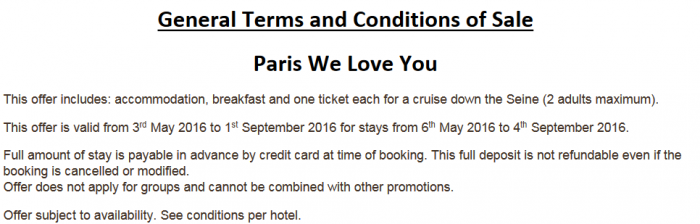 Le Club AccorHotels Paris Sale Terms
