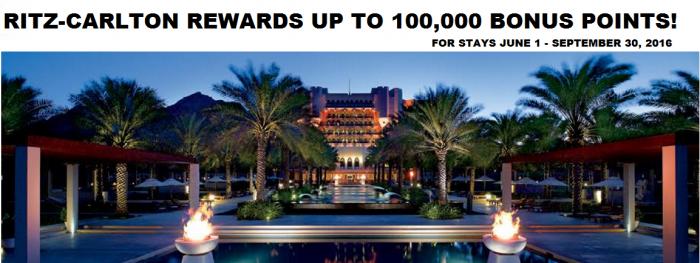 Ritz-Carlton Rewards Rewarding Journeys Up To 100,000 Bonus Points June 1 - September 30 2016