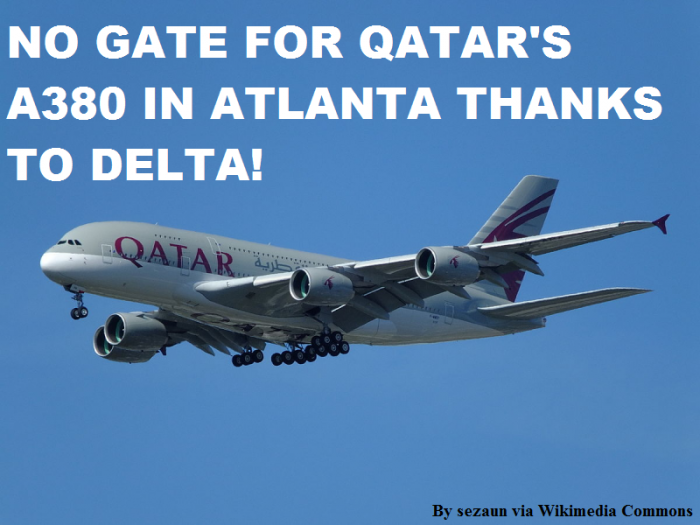 Bus Gate For Qatar's DOH-ATL A380 Inaugural (Oh Delta!)