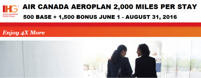 IHG Rewards Club Air Canada Aeroplan Quadruple Miles Five Stays June 1- August 31 2016