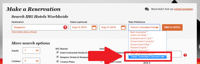 IHG Rewards Club Travel Agent & Professional Rate Search
