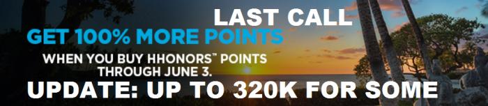 LAST CALL Hilton HHonors Buy Points 100 Percent Bonus April 21 - June 3 2016