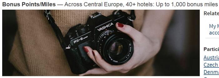 Marriott Rewards 1,000 Bonus Miles Europe June 20 - September 11 2016