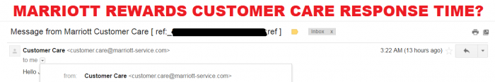Marriott Rewards Customer Care Response Time
