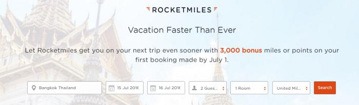 Rocketmiles 3,000 Bonus Miles All Partners June 28 - July 1 2016