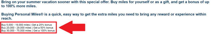 United Airlines Buy Miles Up To 100 Percent Bonus June 27 - August 15 2016 Table