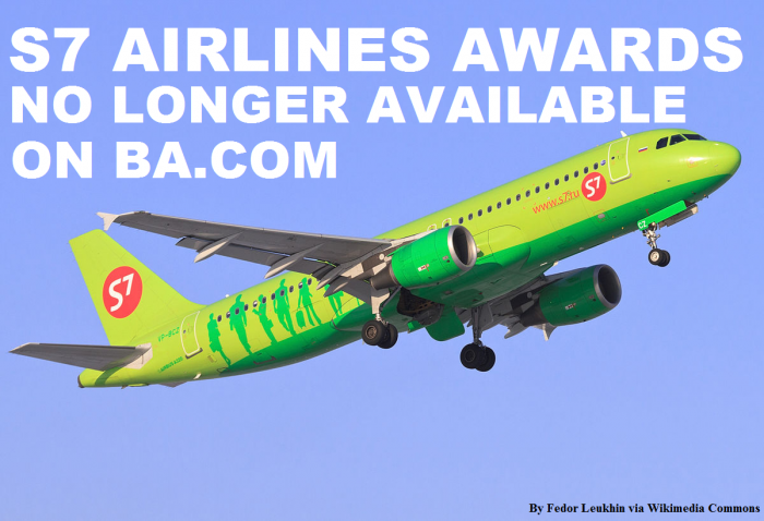 British Airways Executive Club S7 Airlines Awards Using Avios