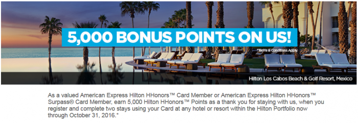 Hilton HHonors 5,000 Bonus Points Two Stays Amex August 1 - October 31 2016