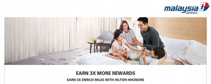 Hilton HHonors Malaysia Airlines Triple Enrich Miles July 1 - September 30 2016