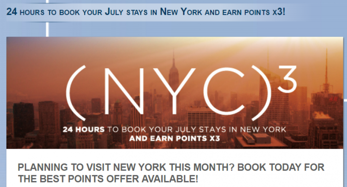 Le Club AccorHotels New York Triple Points July 2016
