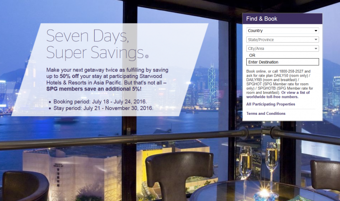 Starwood Preferred Guest Asia Pacific Up To 50 Percent Off For Stays July 21 - November 30 2016