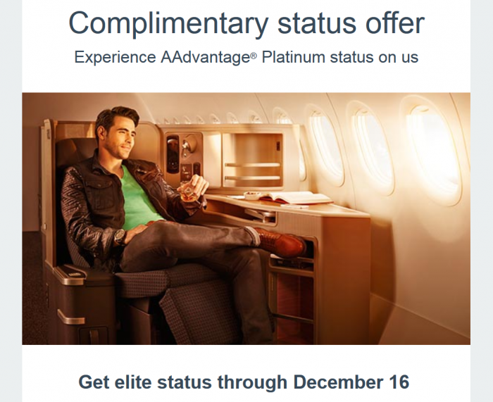 American Airlines Complementary Gold or Platinum Status