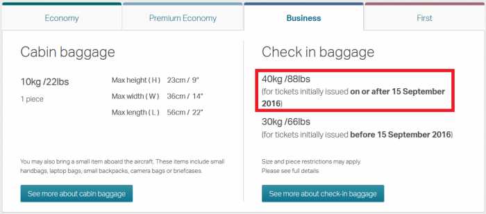 Cathay Pacific Increased Luggage Allowance Business