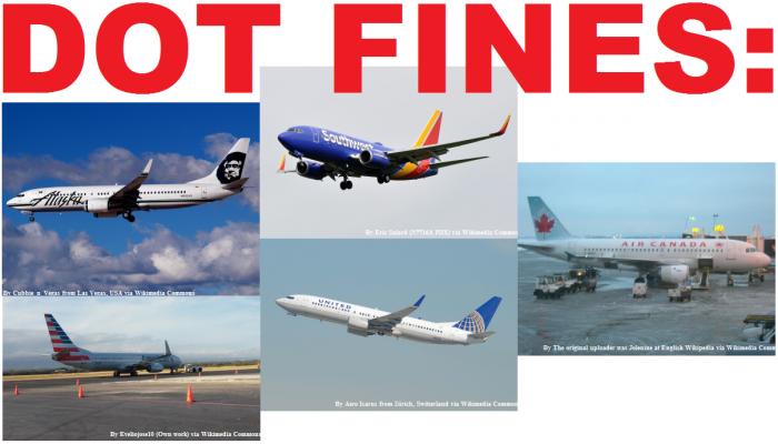 DOT Fines Alaska Southwest United American Air Canada