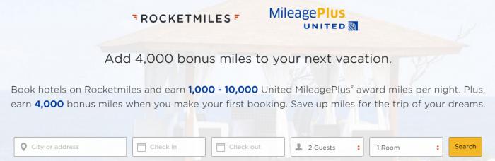 Rocketmiles United Airlines 4,000 Bonus Miles September 30 2016