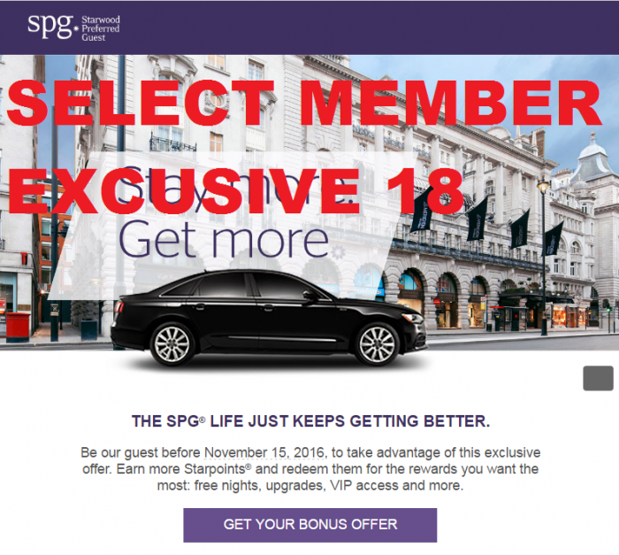 Starwood Preferred Guest SPG Select Member Exclusive Fall 2016
