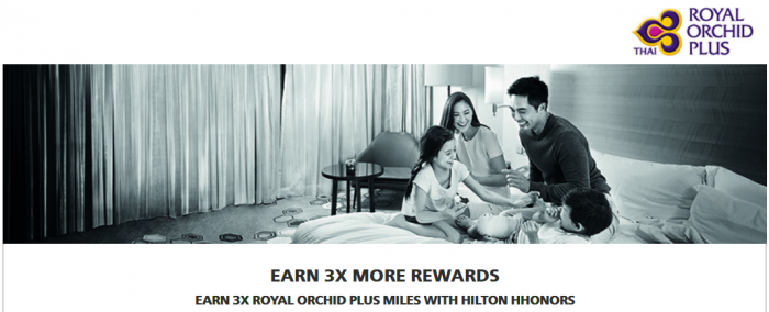 Hilton HHonors Thai Airways Royal Orchid Plus Triple Miles July 1 - September 30 2016
