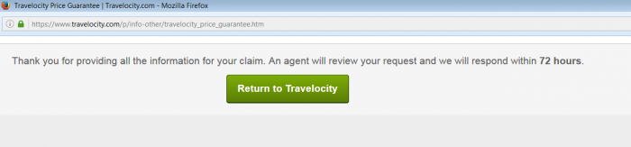 Travelocity Best Price Guarantee Confirmation