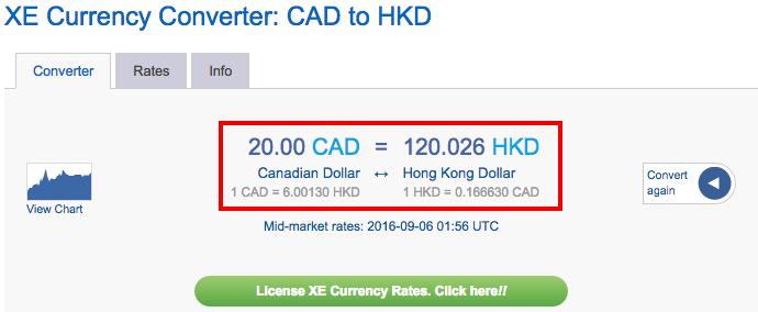 XE CADHKD Rate