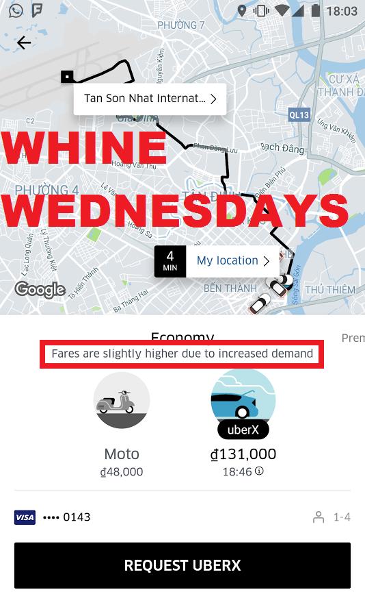 Whine Wednesdays Uber Surge Not Disclosed (Kuala Lumpur & Ho Chi Minh City) U