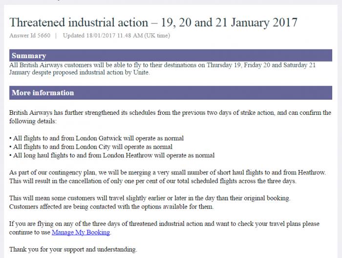 British Airways Mixed Fleet Second Strike January 19, 20 & 21 2017 Text