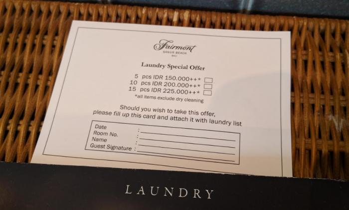 Fabulous Fridays Reasonably Priced Laundry Service At Hotels Case Fairmont Sanur (Bali)