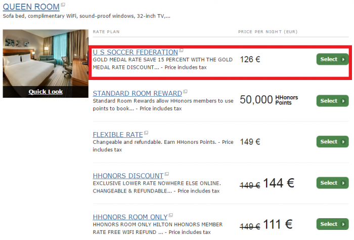 Hilton HHonors Gold Medal Rate 2017 Booking Update HGI Frankfurt