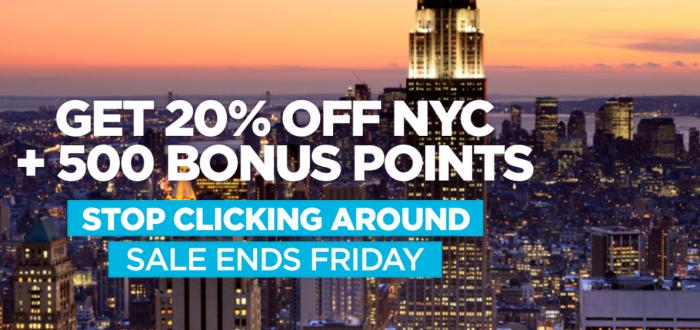 Hilton HHonors New York 20 Percent Off + 500 Bonus Points Per Stay Or Night
