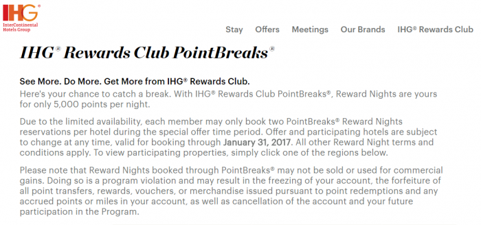 IHG Rewards Club Points Breaks Page Moved